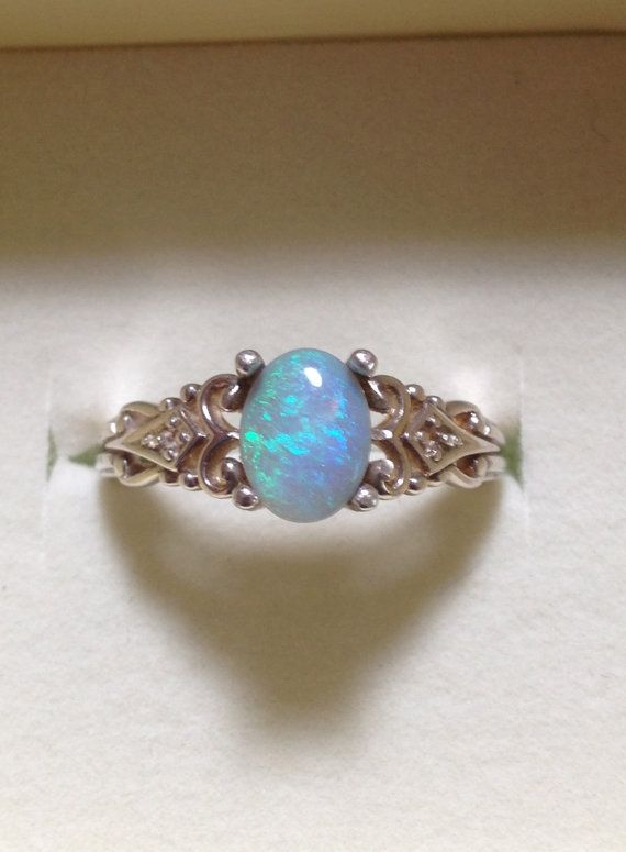 Australian Opal Ring Vintage Style Semi Black Opal Ring With