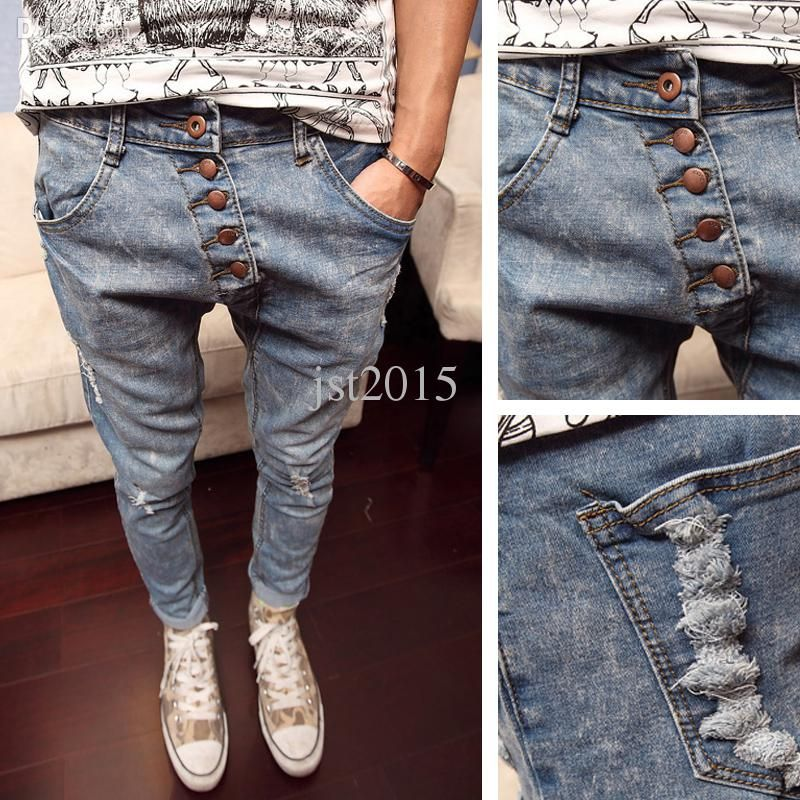 2018 Wholesale Torn Jeans Buttons Drop Crotch Pants Men Spring New Fashion  Trend Harem Trousers Kpop Casual British Style Slim Perfume Men From  Jst2015, ...
