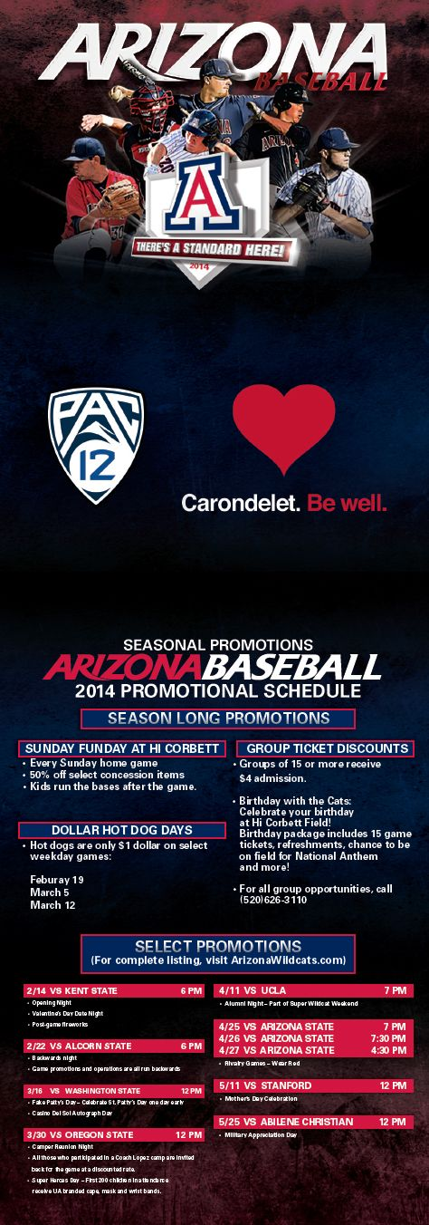 Arizona Baseball Schedule Card (2014) (With images