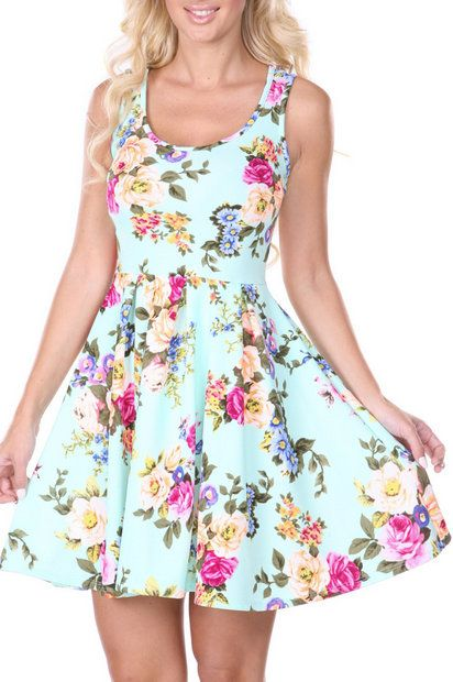 Mint Spring Fl Skater Dress