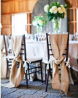 Burlap chair covers! LOVE
