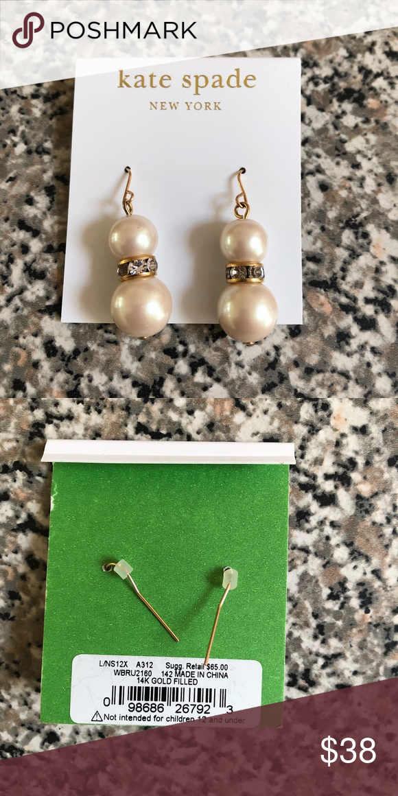 Nwt Kate Spade Pearl 14k Filled Earrings Gold With Faux Pearls And Crystal Center Jewelry
