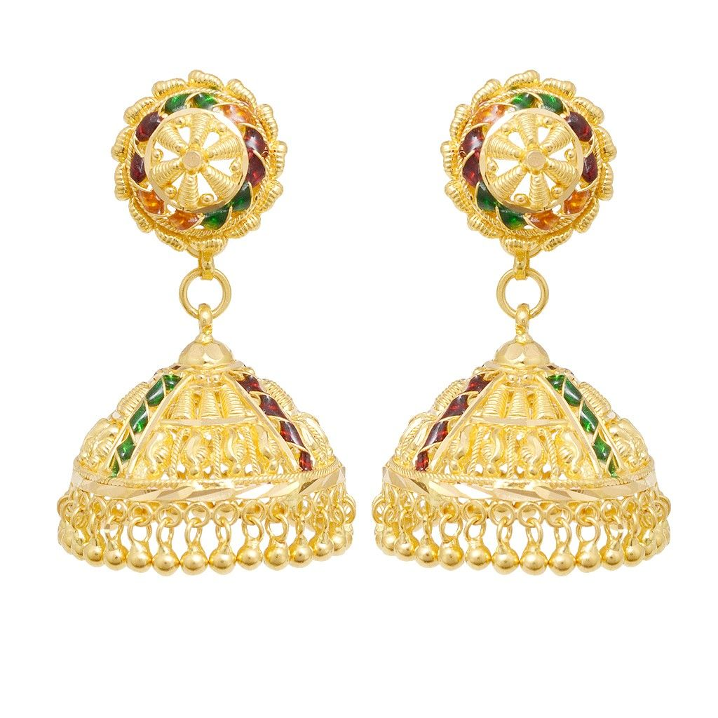 Earrings | 22KT Gold Bead With Colour Stones Earrings | GRT ...