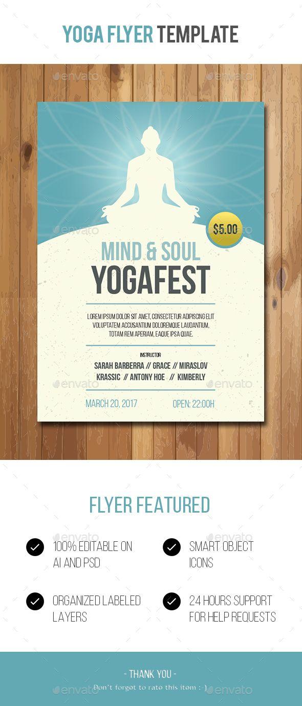 Yoga Flyer Template Flyers Print Templates Yoga Flyer Print
