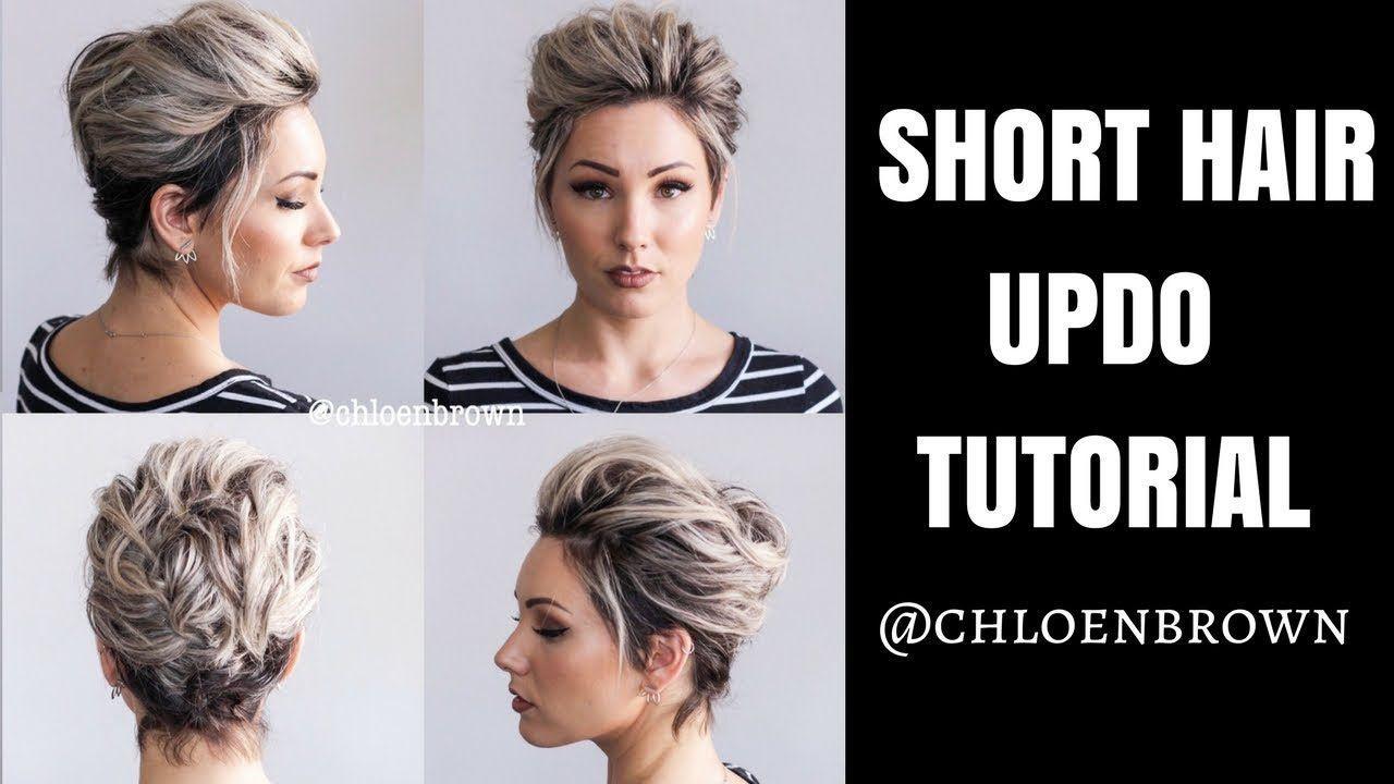 Easy Updo Tutorial For Short Hair In 2020 Short Hair Tutorial Short Hair Updo Tutorial Simple Updo Tutorial