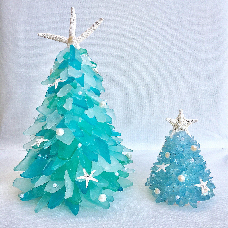 Handmade Small Blue Seaglass 4 Coastal Christmas Tree With Etsy Beach Christmas Decorations Coastal Christmas Tree Outdoor Christmas Decorations
