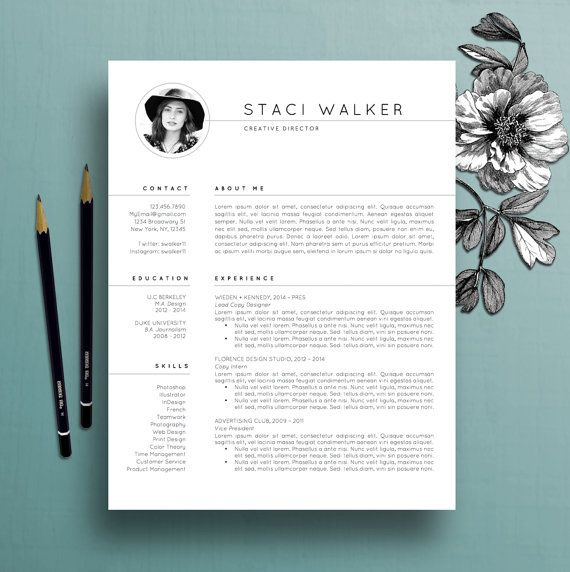 Modern Resume Template 3pk, CV Template + References Letter - modern resume layout