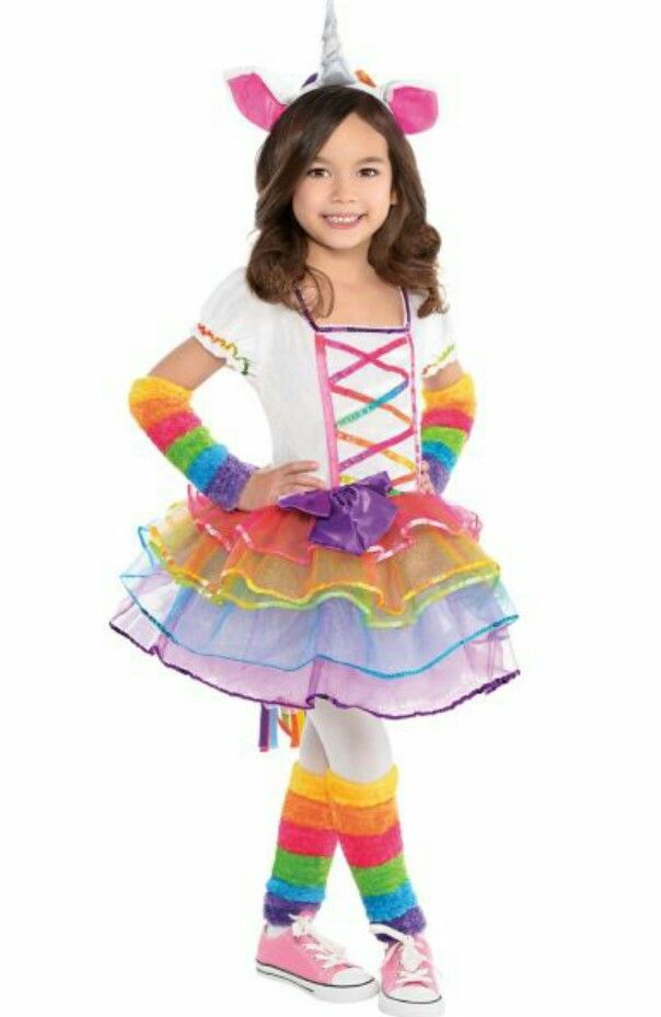 our rainbow unicorn costume for toddler girls features a colorful dress with lattice rainbow ribbon on the white velour top above the layered tutu