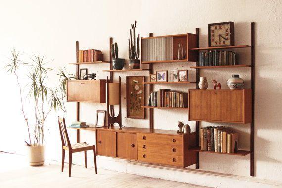 Danish Mid Century Modern Modular Teak Wall Unit Mid Century Modern Bookcase Wall Shelving Units Mid Century Furniture
