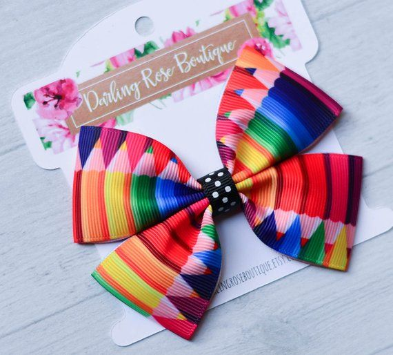 Large 4 back to school first day of school chalkboard theme hair bow hairbow graduation kindergarte #firstdayofschoolhairstyles