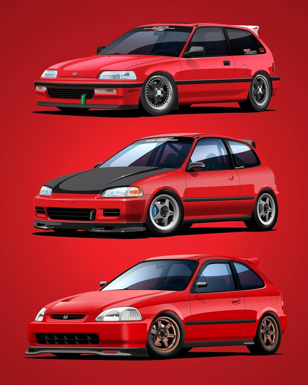 Auto Artworks On Instagram Inspired By A Collage Made Of My Work By Honda Hatch 92 Here S A Civic Generati Honda Civic Hatchback Civic Hatchback Honda Civic
