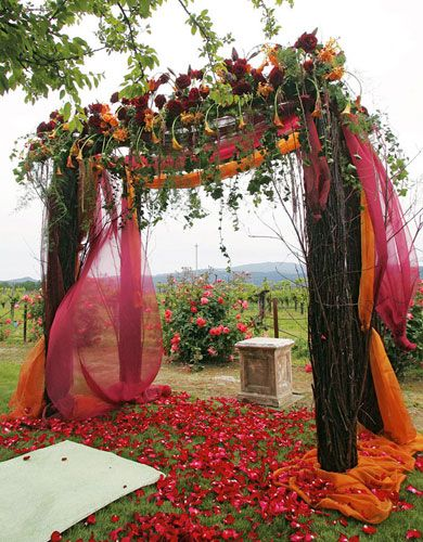These floral and fabric accents would really enhance a beautiful wedding canopy (chuppah).