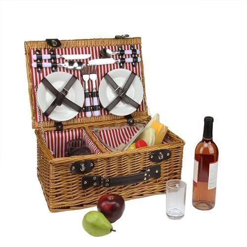 4-Person Hand Woven Honey Willow Insulated Picnic Basket Set with Accessories