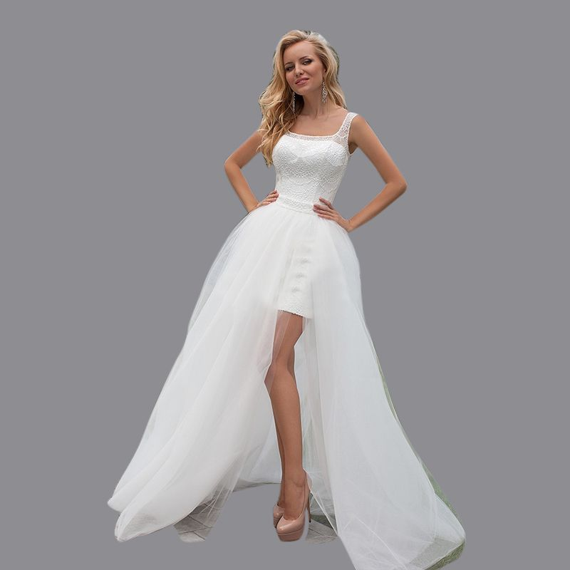 Detachable Trains Knee High: High Low Sheath Lace Straps Boat Neck Above Knee Short