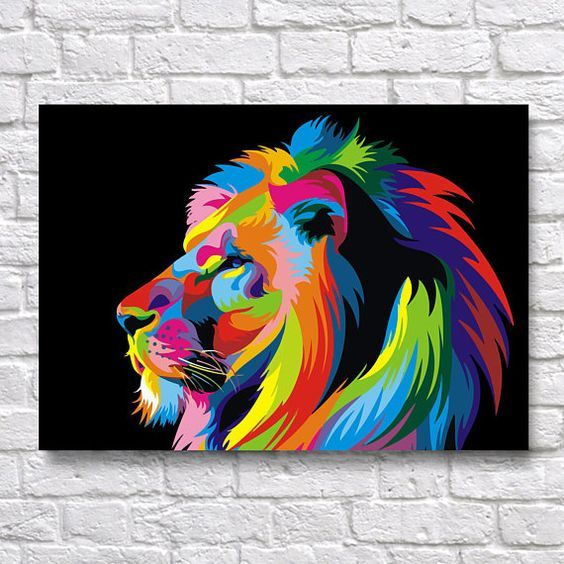 Colourful Lion art animal Photo Poster Print ONLY Wall Art A4