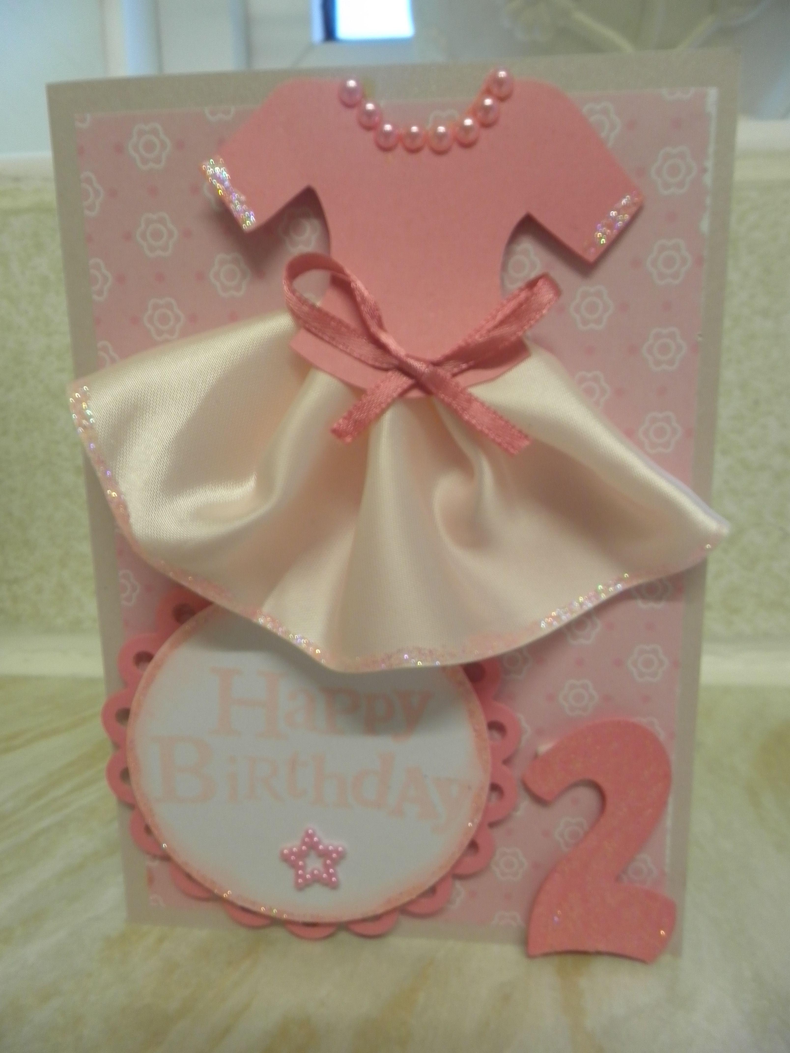 Little girls 2nd birthday dress card Cards Pinterest Dress