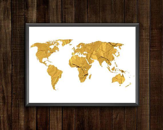 Gold Foil World Map Framed.Gold Foil World Map Printable World Map World Map Wall Art