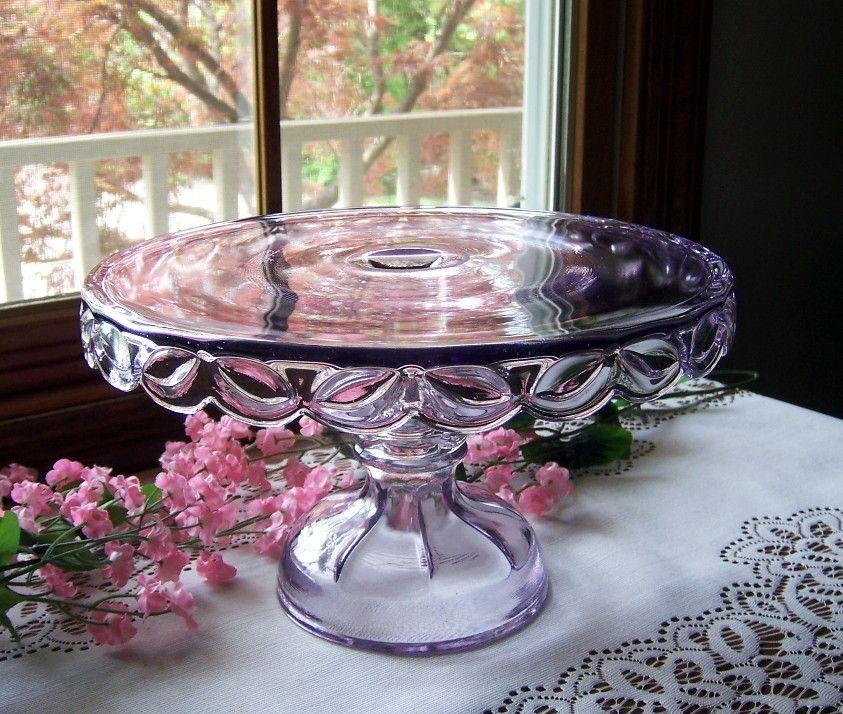 Antique eapg riverside glass sun purple cake plate glass
