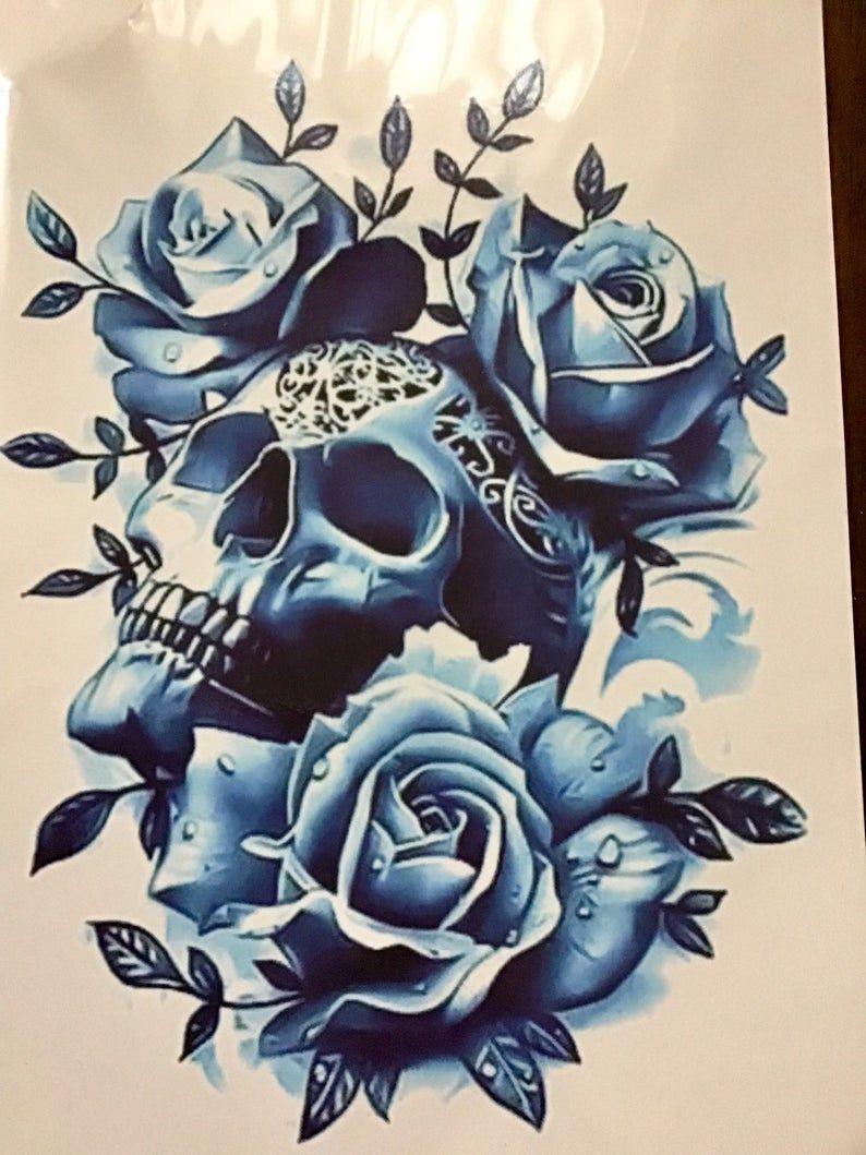 Temporary Tattoos Large Temporary Tattoo Tattoo Color Etsy In 2020 Flower Skull Blue Rose Tattoos Skull Rose Tattoos