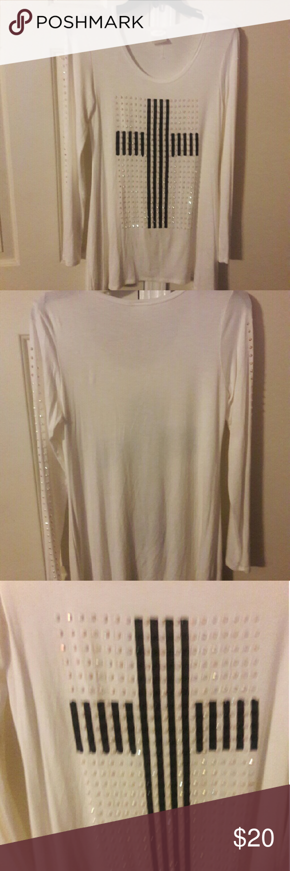 Vocal long sleeve cotton  blouse Rhinestone applique, nice flowing material Vocal California Tops Blouses
