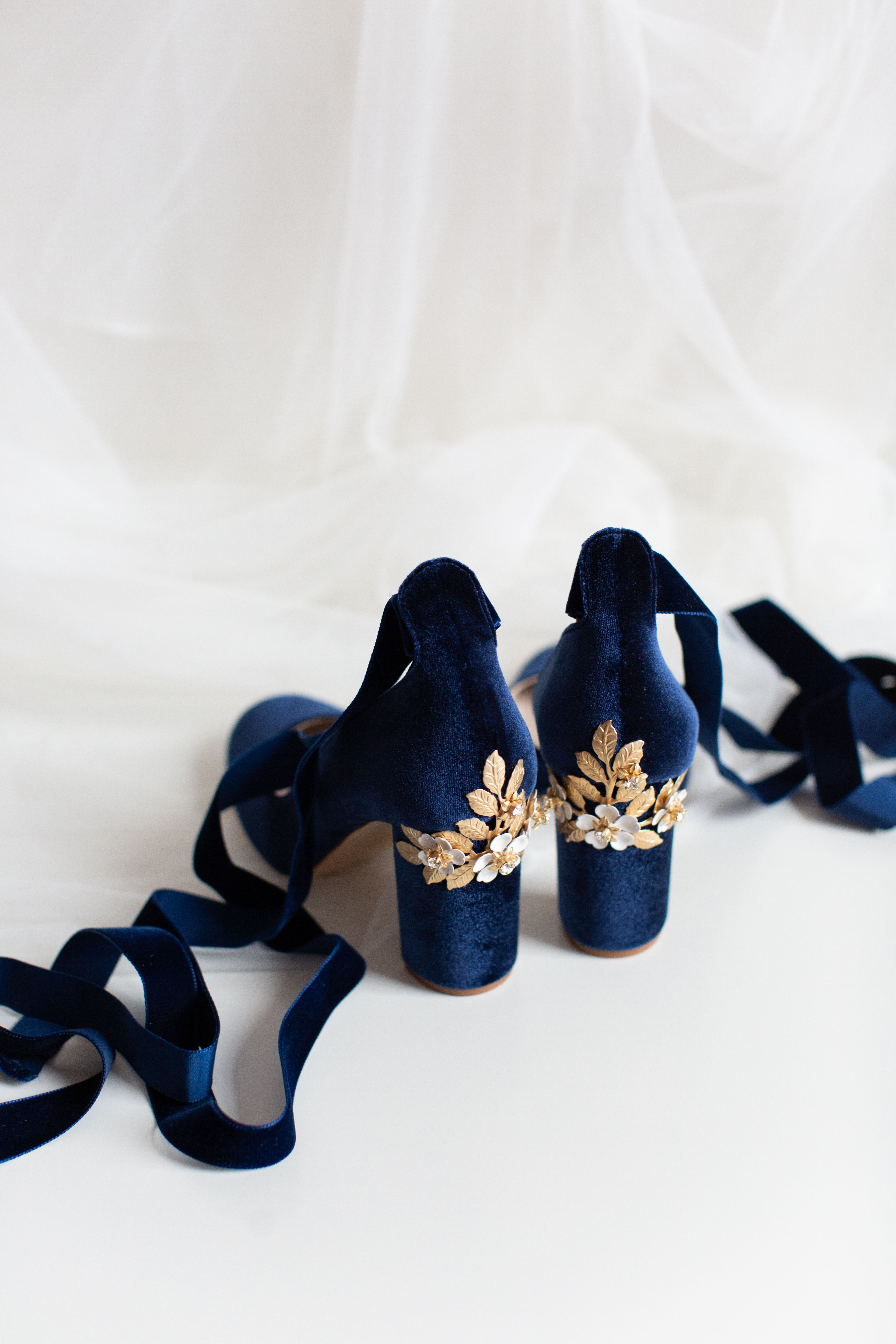 Block Heel Wedding Shoes Hetty Midnight Blossom Blue