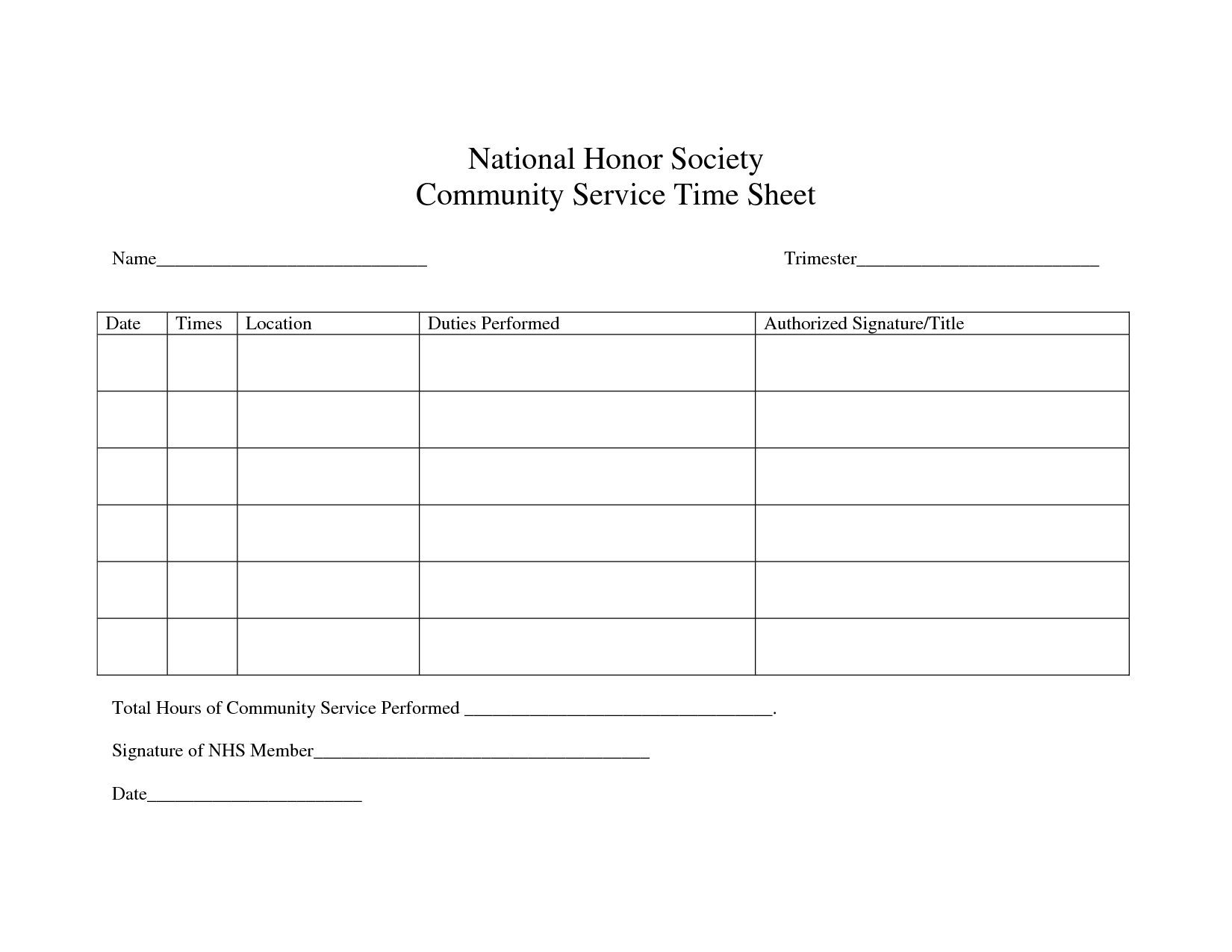 image result for national junior honor society service hours form