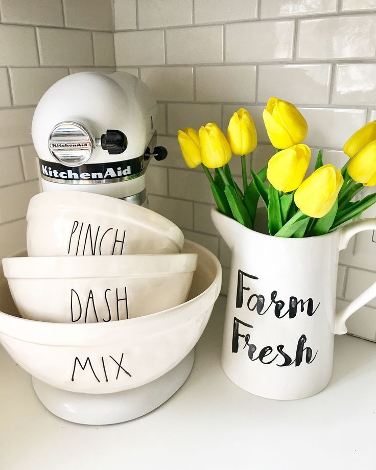 Rae Dunn Display , Farmhouse Kitchen Instagram