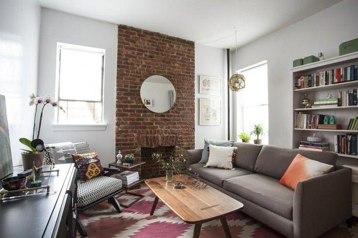 ideen für wandgestaltung wohnzimmer ziegelwand akzentwand | ideen, Wohnzimmer