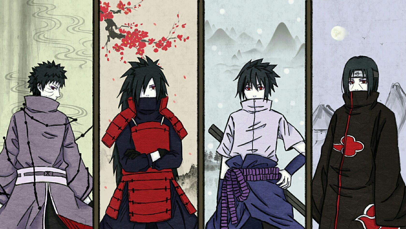 一直想画的风花雪月宇智波屏风√K_君迁子 Dibujos, Materiales de arte, Naruto