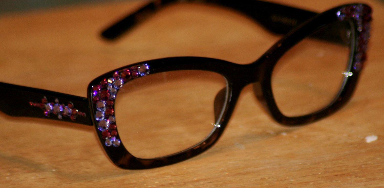 Violet Hipster Style Clear Eyewear, Amethyst/Tanzanite Swarovski ...