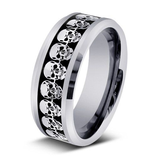 9MM Mens Tungsten Carbide 3D Skull Inlay Wedding Band Comfort Fit