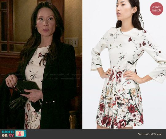Joan's floral dress on Elementary.  Outfit Details: http://wornontv.net/47810/ #Elementary