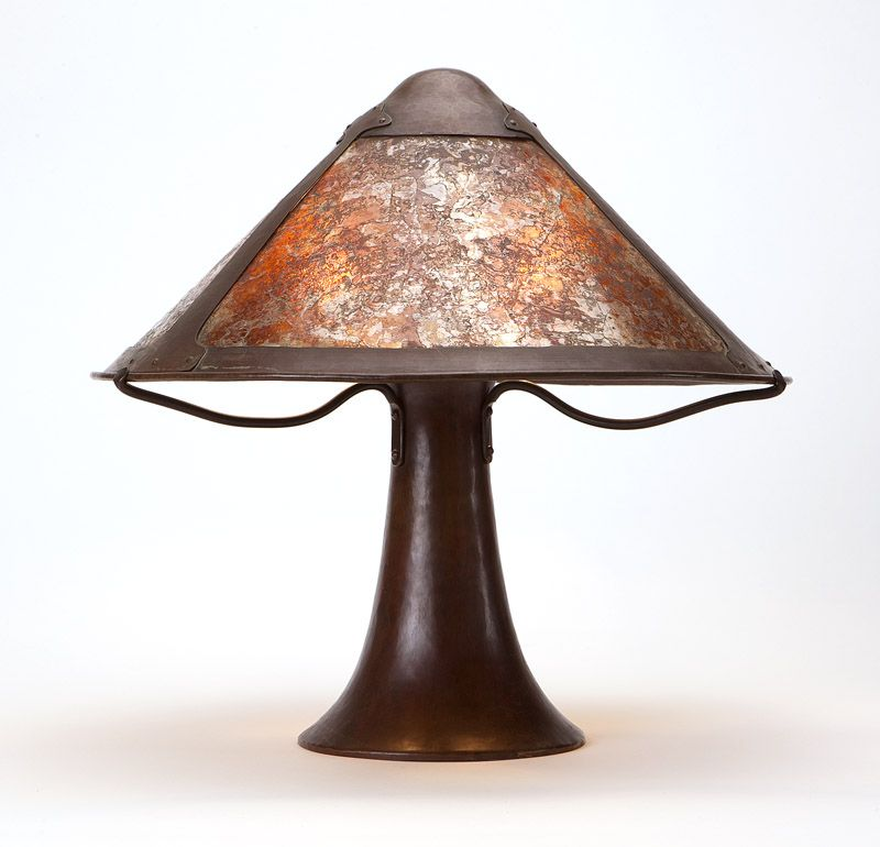 A Dirk Van Erp Copper Mica Table Lamp Impressed Closed Box Windmill Mark