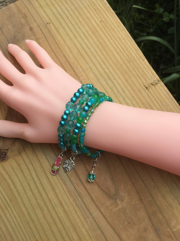 Aqua friendship bracelets blue green stretchy bracelets beachy