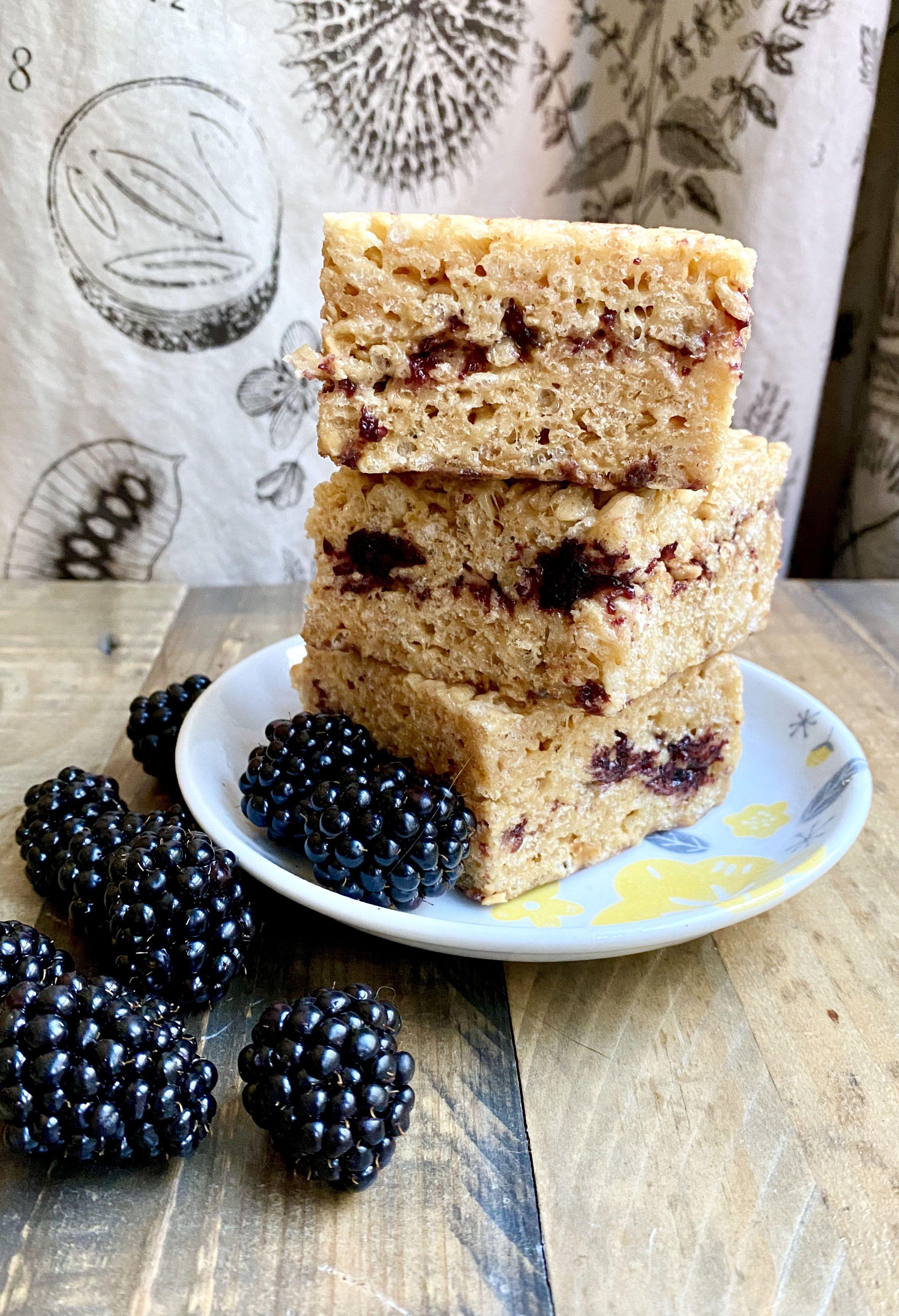 Peanut butter marionberry jam rice krispies treats