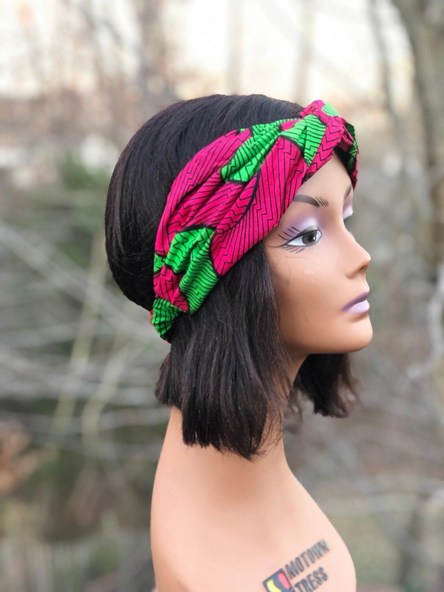 Pink Green Women's Head band - Wide HeadBand - Yoga Headbands - Boho Head wrap - Female Scarf- Hair Accessories - Turban - Workout bandanna