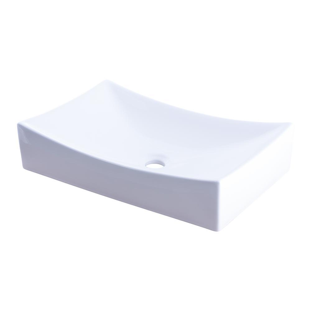 Novatto Modern Porcelain Rectangle Vessel Sink In White Np 01141 The Home Depot Rectangular Sink Bathroom Vessel Sink Sink