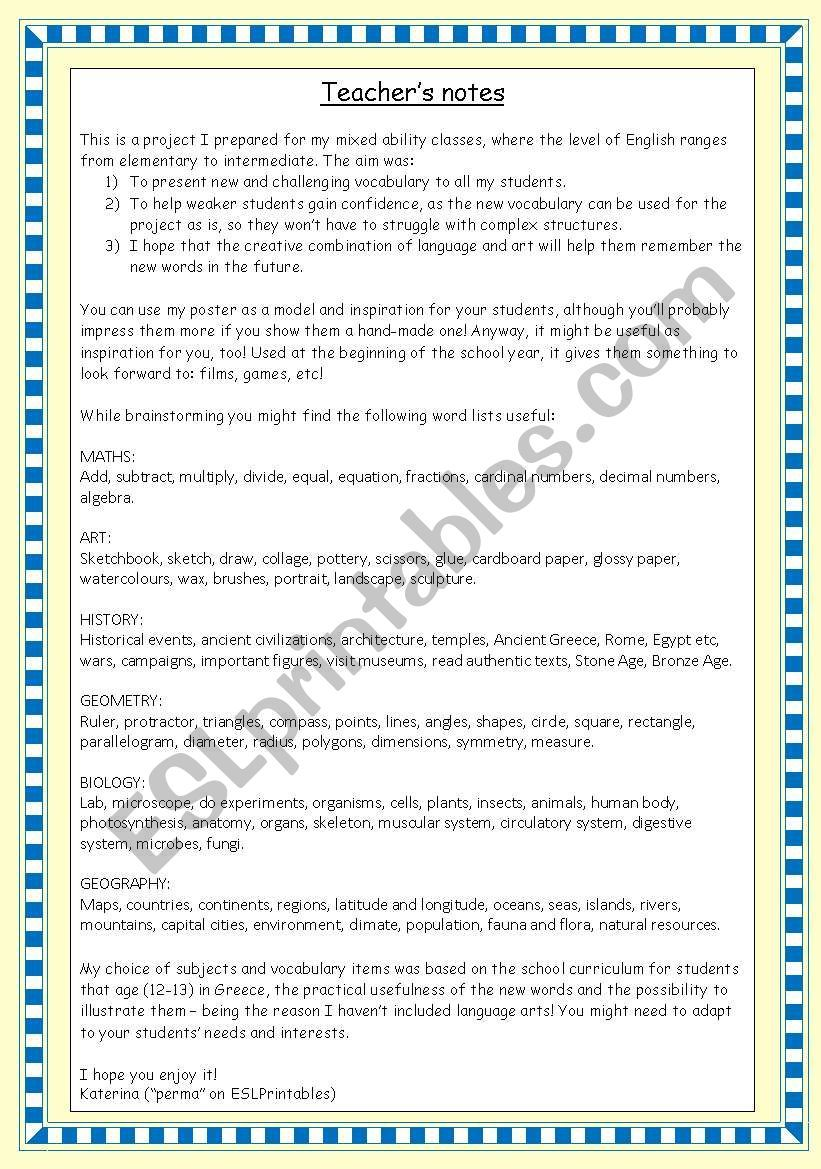 School Subjects Project Create A Poster 4 Pages Complete Project With A Model Poster On The 1st Pg School Subjects Poster On Teacher Notes