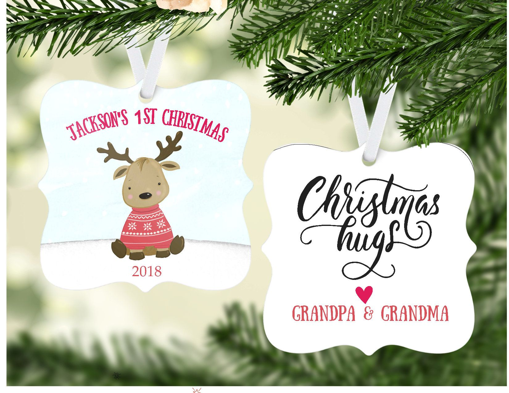 Baby/'s First Christmas Babys First Christmas Gift Personalized Picture Ornament Chrsitmas Gift for Baby  3x3 Opening