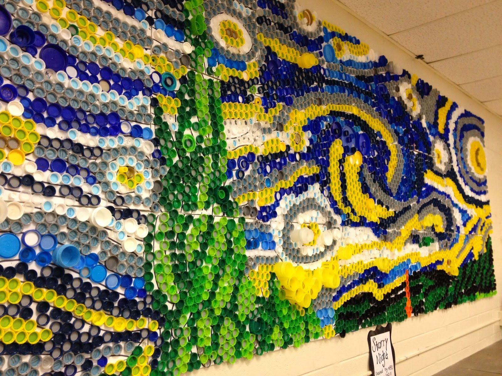 Used Plastic Bottle Caps To Create Van Gogh S Quot Starry