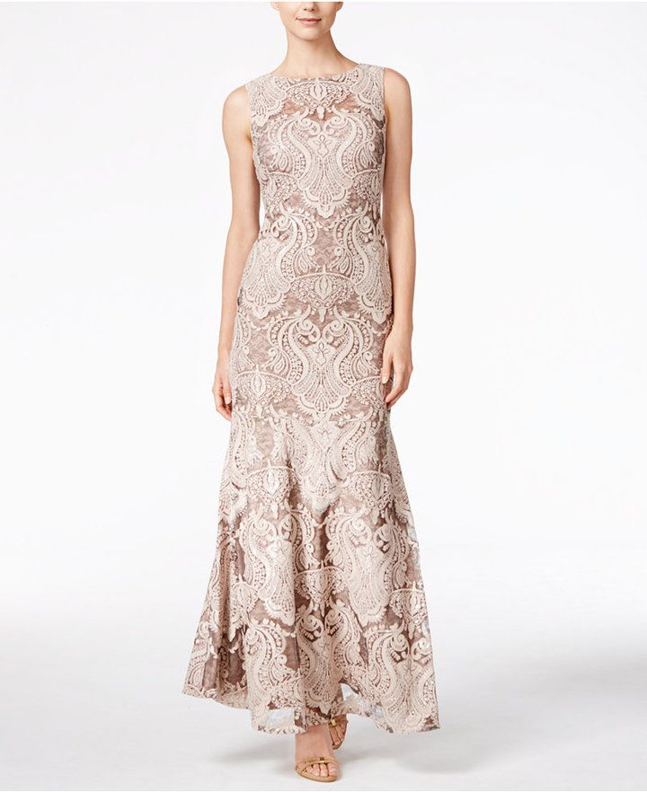 7cbcf439a775 Calvin Klein Lace Sequined Mermaid Gown | Nude | Mermaid gown ...