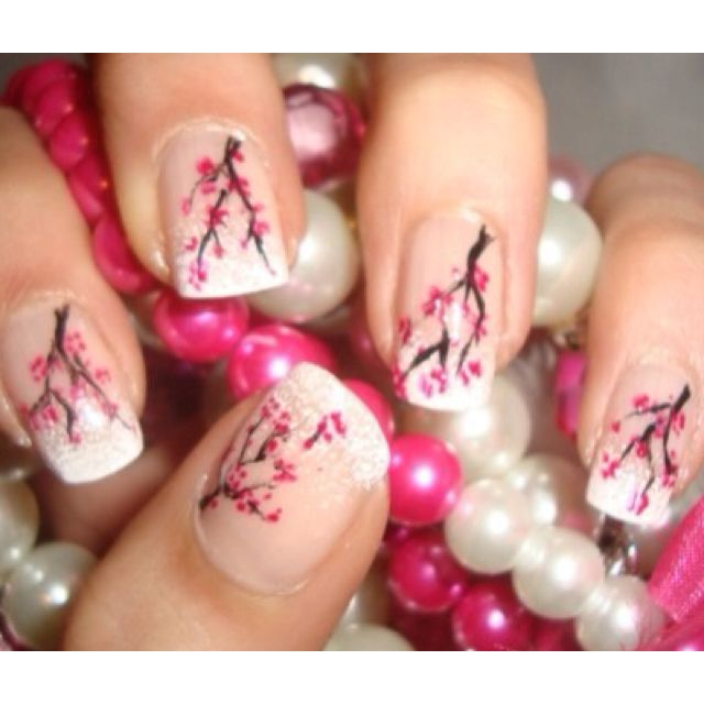 Sakura nail design | girlie | Pinterest | Nails, Cherry ...