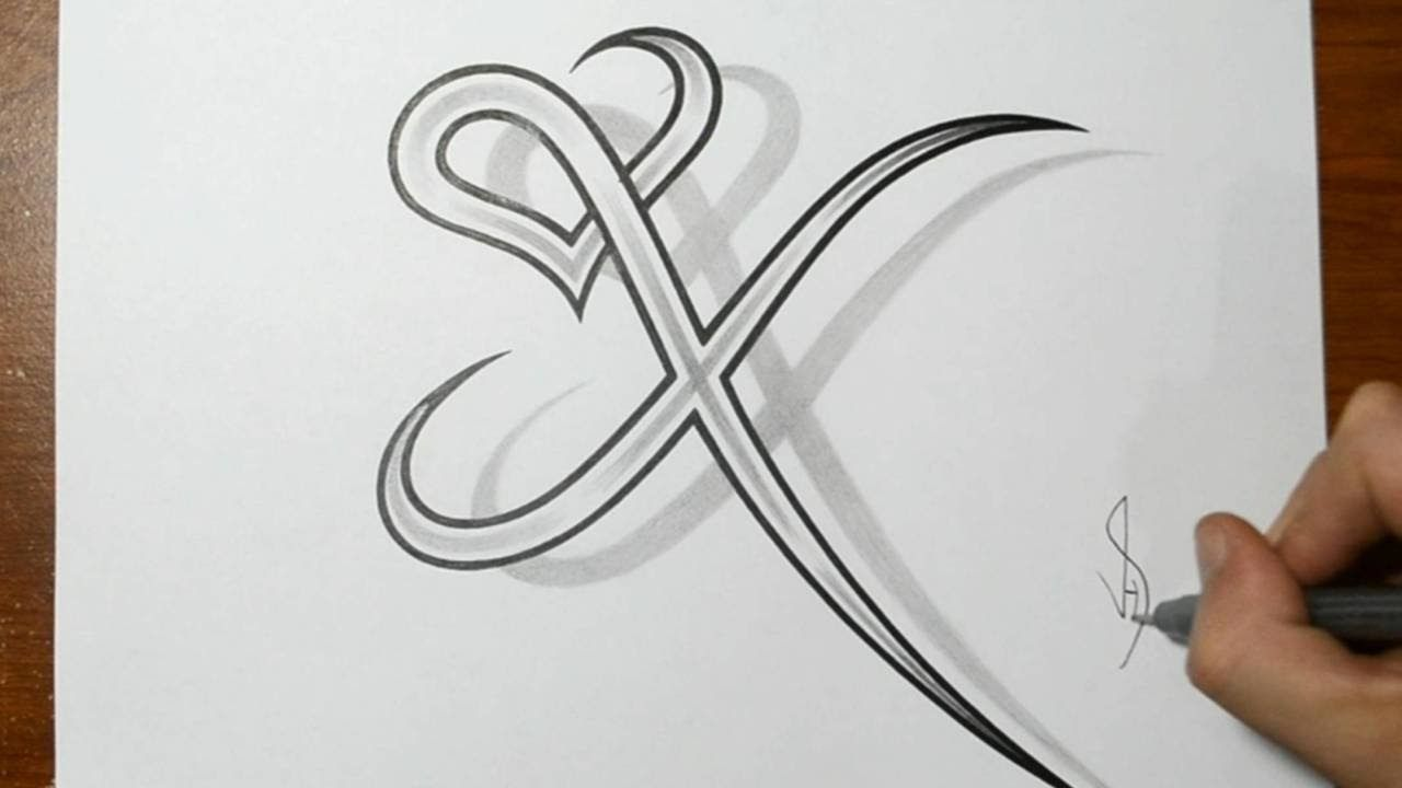 Drawing Letter X Combined With A Heart Design Heart Tattoo Designs Tattoo Designs X Tattoo