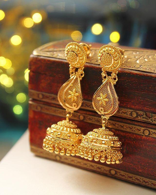 Bahari Little Jhumkas in deep yellow hallmarked 22K gold ...