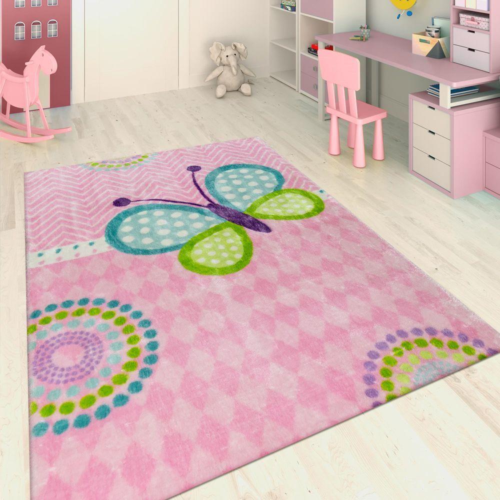 Handgetuftet Kinderteppich Schmetterling Rosa Kinderteppiche