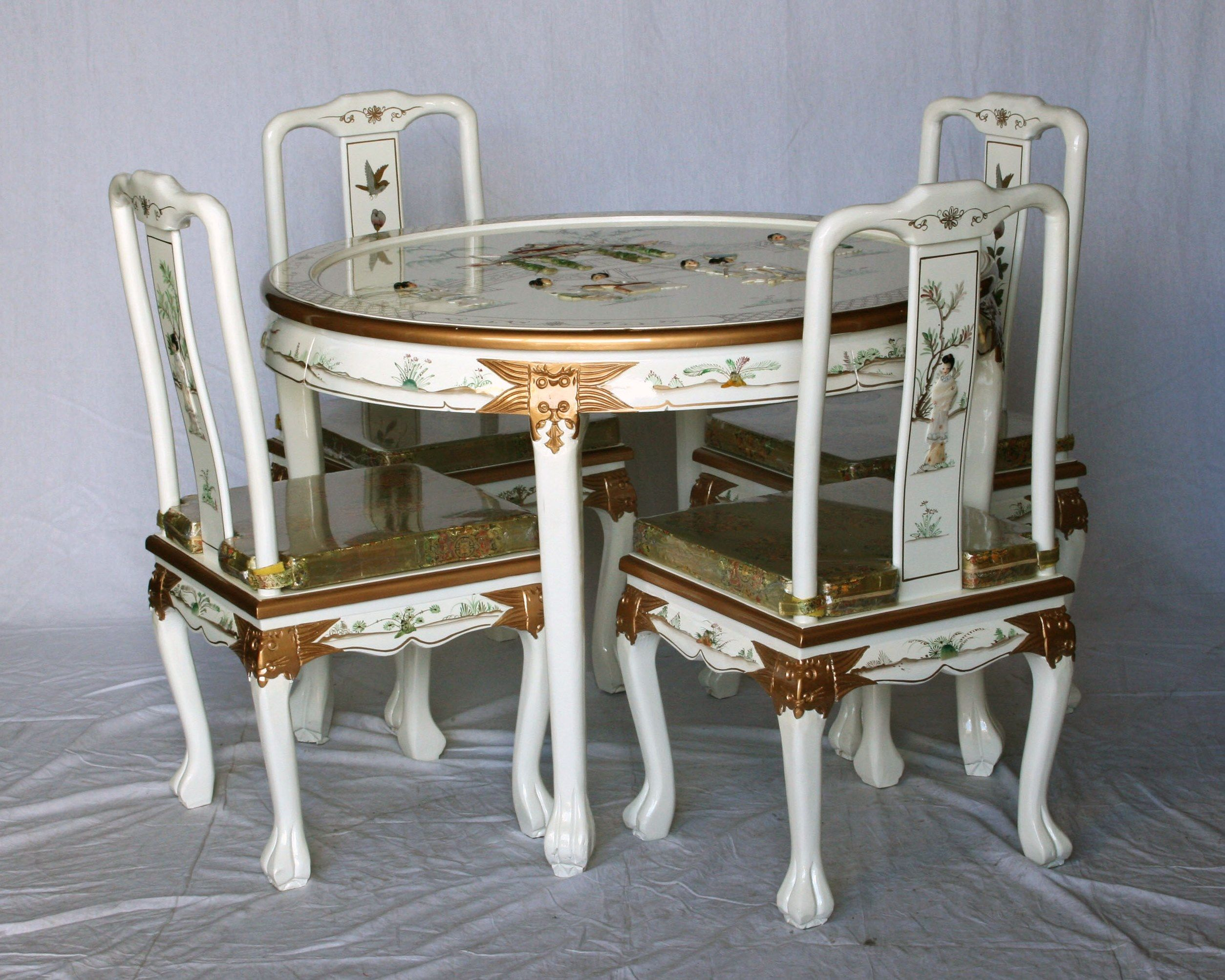 White Lacquer Dining Room Set Oriental Furniture Furniture Dining Table