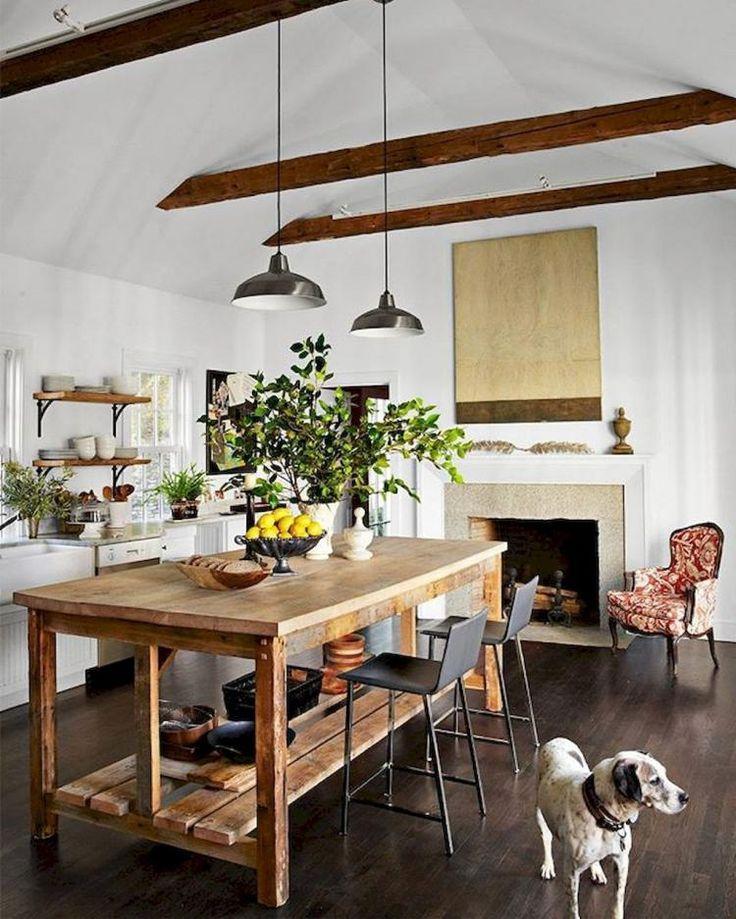 50+ Rustic Wooden Kitchen Islands Design Rustic kitchen