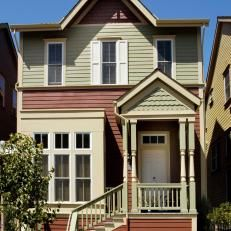 Home Exterior With Sage Green And Burgundy Siding And White Front Door Green Siding House Styles Exterior