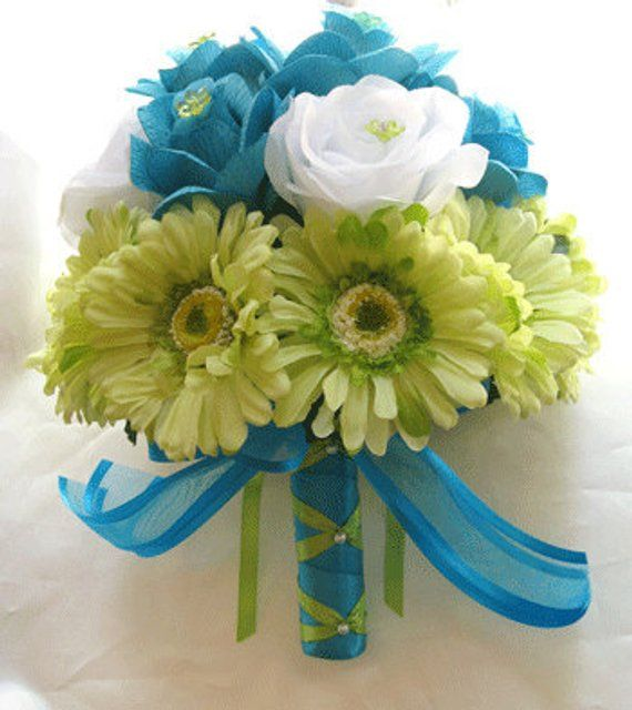 Flower For Wedding Cost: Wedding Flowers Silk Bridal Bouquet TURQUOISE GREEN DAISY