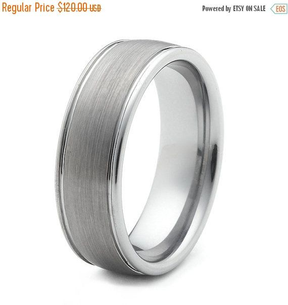 ON SALE Tungsten Wedding Bands Ring For Men Polised Edges